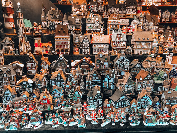Ceramic houses at the Cologne Alter Market Christmas market