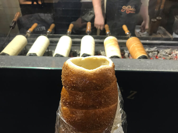 Chimney cake at the Christmas market in Budapest