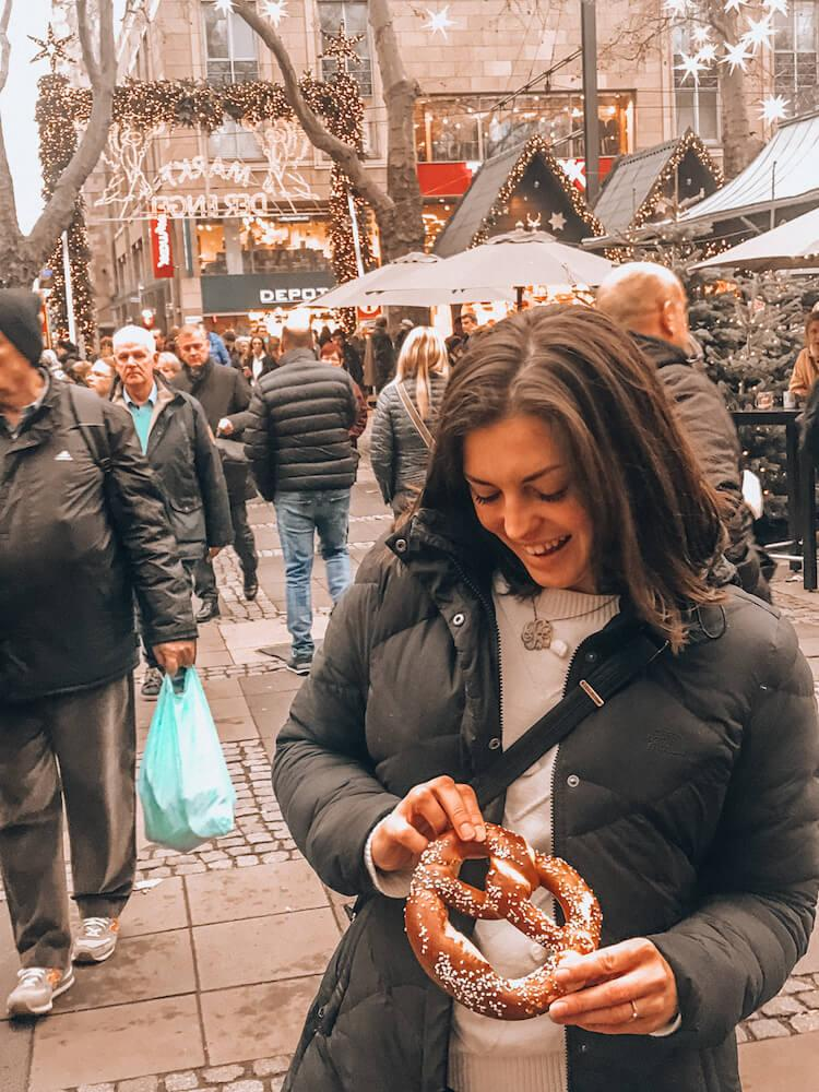 Eating a Pretzel and the European Christmas Markets