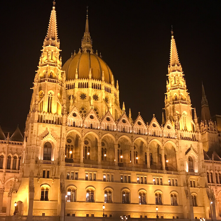 Hungarian Parliament Building lit up at night