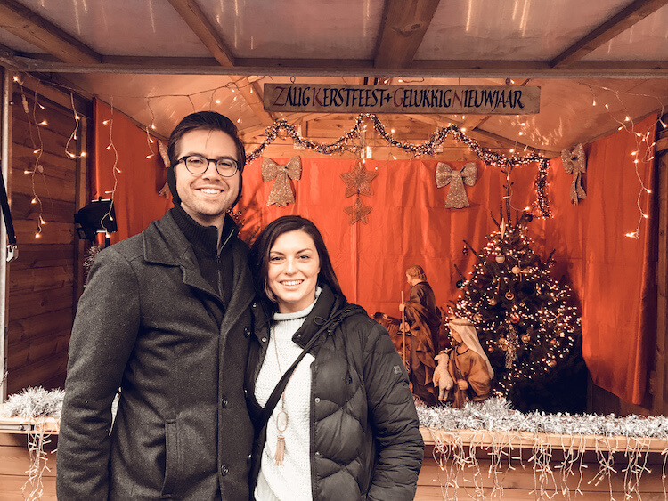 Kat and Chris in front of the Bruges Belgium Christmas Nativity Scene