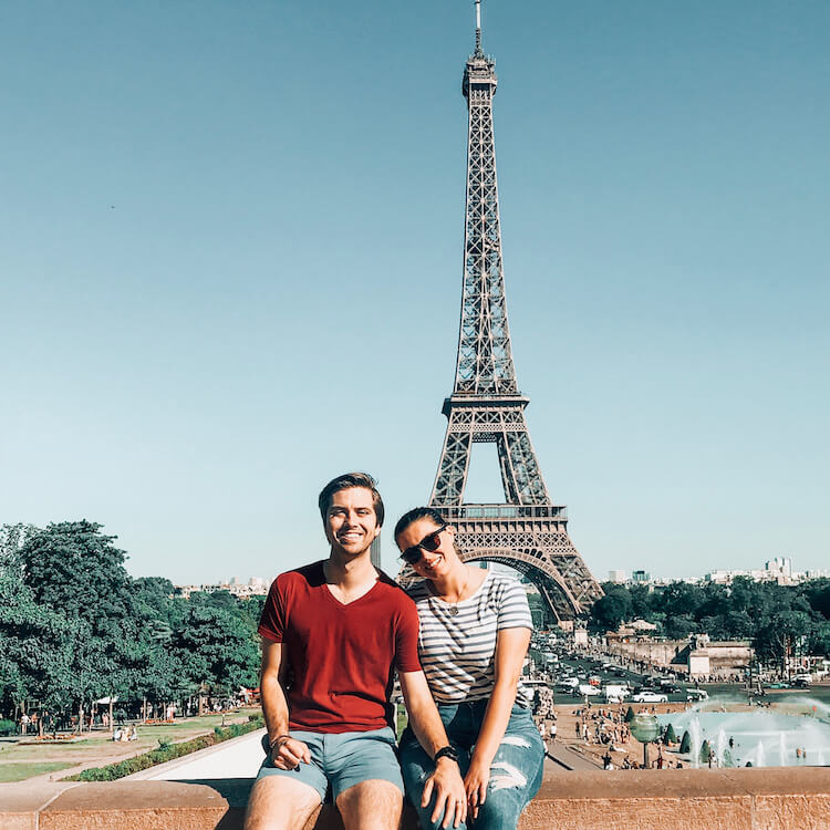 Kat and Chris in the 7th Arrondissement near the Eiffel Tower