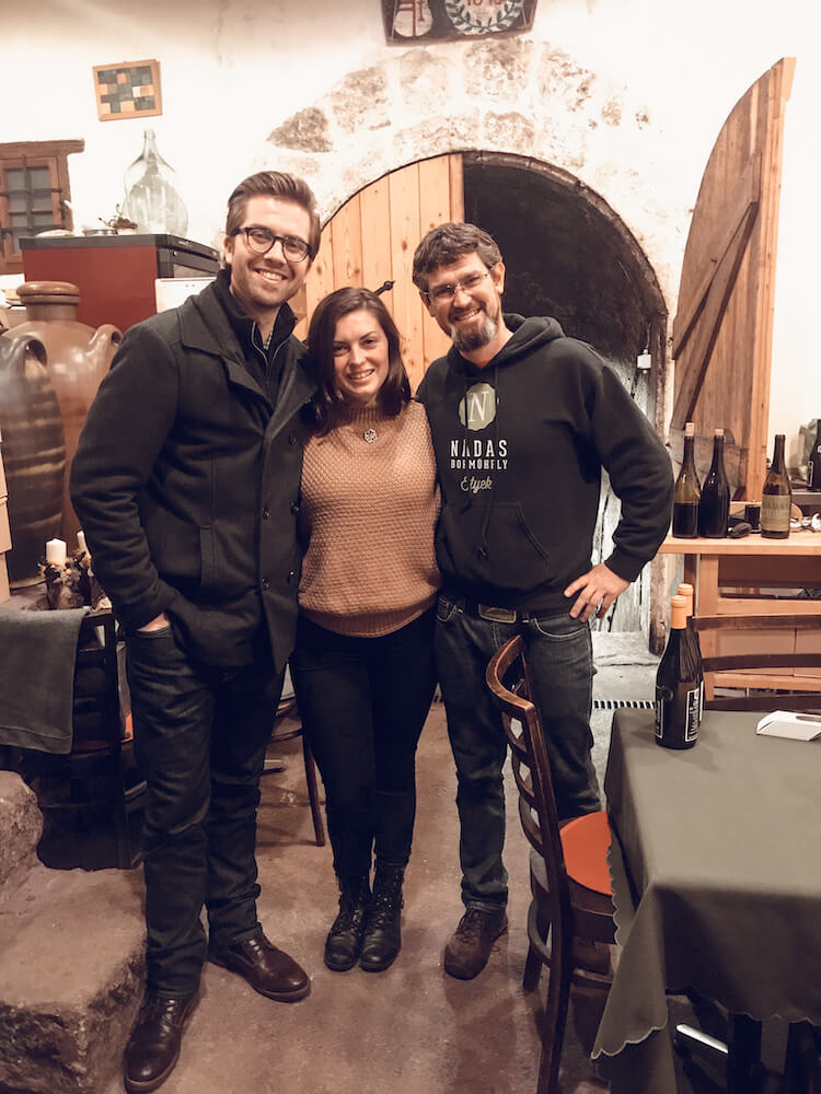 Kat and Chris with the owner of Nadas Winery in Hungary