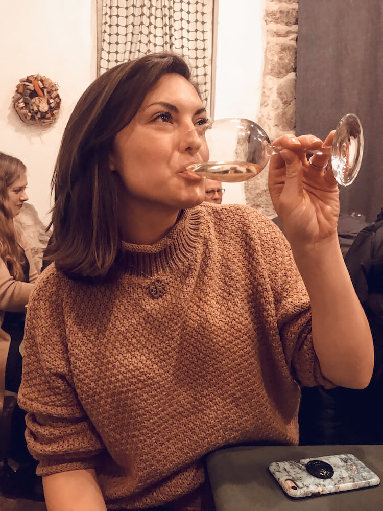 Kat drinking some Etyek wine on a day trip from Budapest