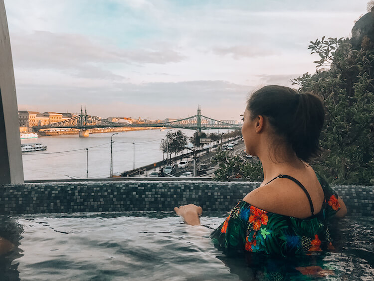 Kat in the rooftop spa at Rudas Baths in Budapest - Top Things to do in Budapest