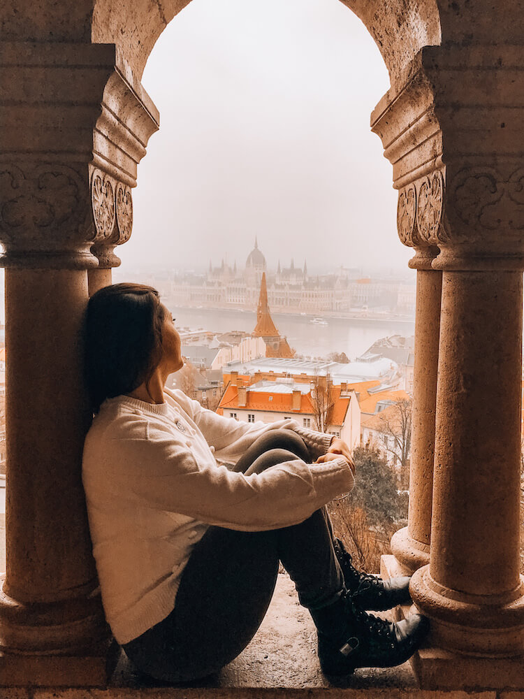 Kat overlooking the Parliament Building in Budapest