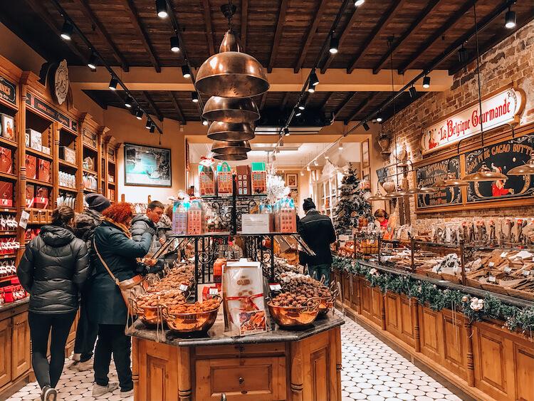 La Belgique Gourmande chocolate shop in Bruges- Day Trip to Bruges