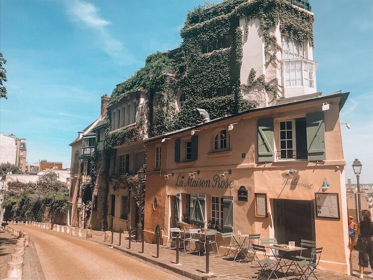 La Maison Rose cafe in Paris, France in the Montmartre neighborhood- Best arrondissement to stay in Paris for honeymoon