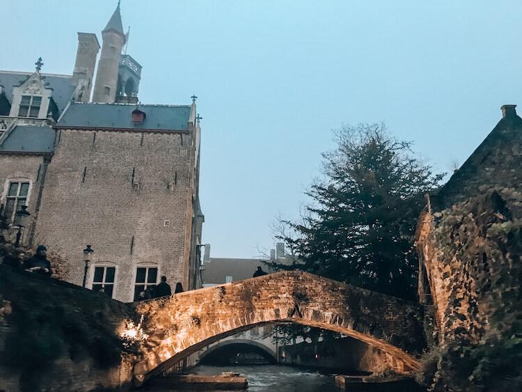 Love Bridge at dusk in Bruges
