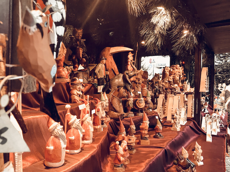 Wooden Santas, gnomes, and figurines at a Christmas market in Cologne