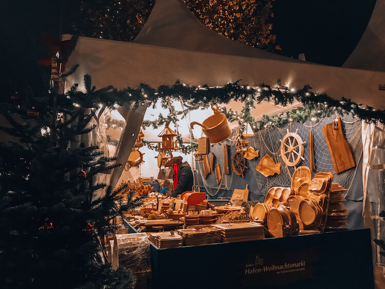 Wooden goods at the Harbor Christmas Market in Cologne