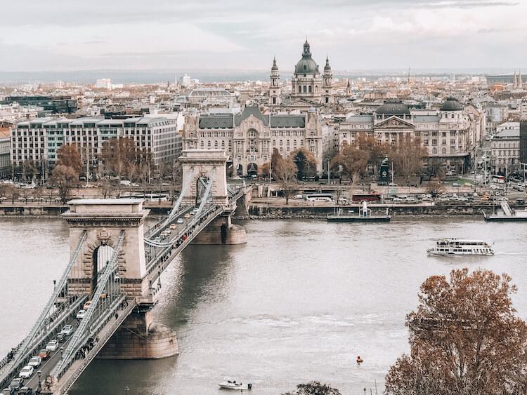 bird's eye view of the Chain Bridge in Budapest