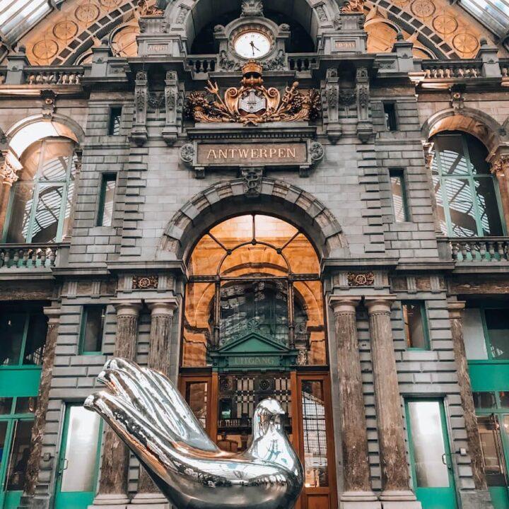 Antwerpen Central Train Station with hand sculpture