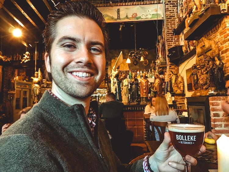Chris with a Bolleke beer in Antwerp- One Day in Antwerp