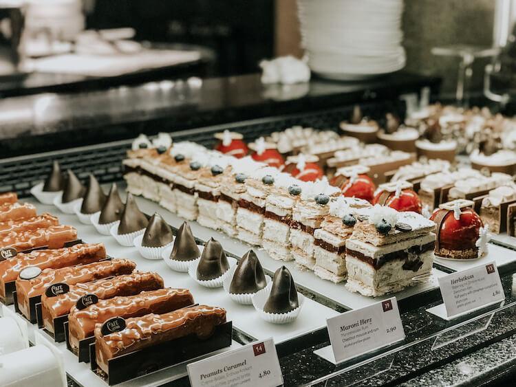 Close up on desserts at Cafe Central