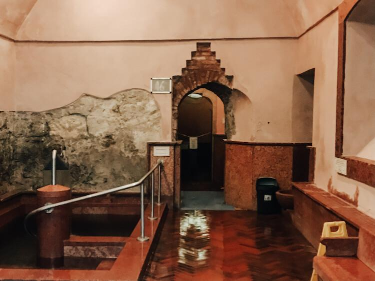 Entrance to the Turkish Baths in Budapest at Rudas with plunge pool