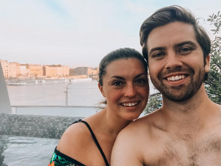 Kat and Chris in the hot tub at Rudas Baths Budapest