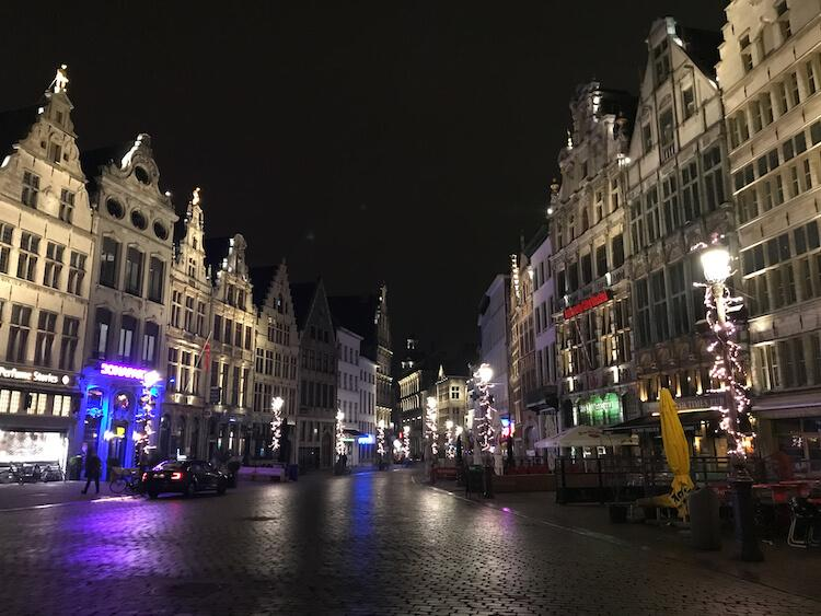 Old Town Antwerp at night lit up with Dutch buildings