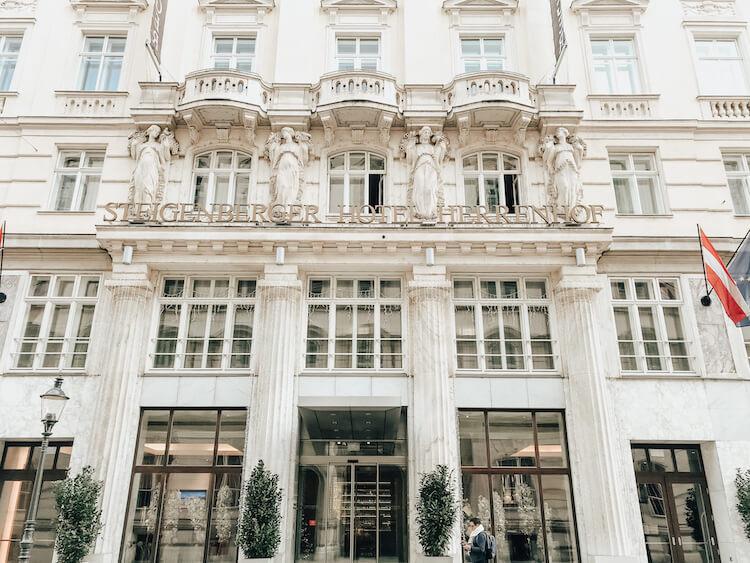 Steigenberger Hotel Herrenhof Entrance in Vienna, Where to Stay in Vienna