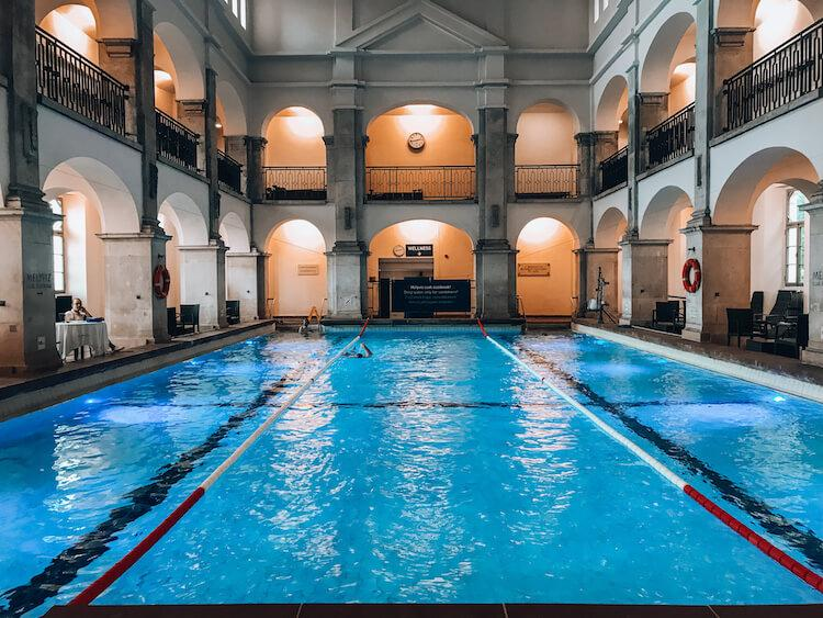 Swimming pool at Rudas Baths with two stories for relaxing
