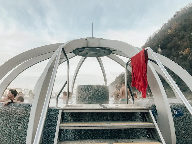 The rooftop hot tub at Rudas Baths Budapest- Best Bathhouses in Budapest