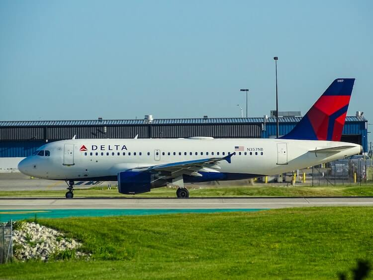 Delta Airlines flight at the airport