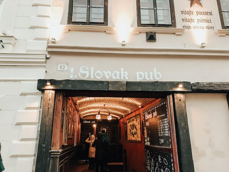 Entrance to 1. Slovak Pub in Bratislava, Slovakia