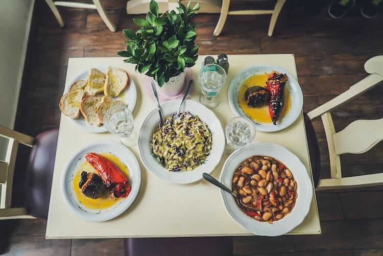 Greek food set on a table
