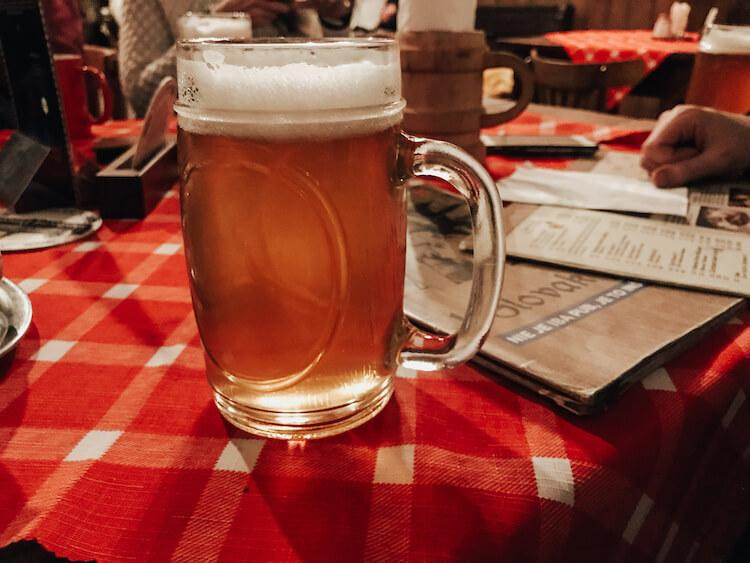 House brewed beer at 1. Slovak Pub