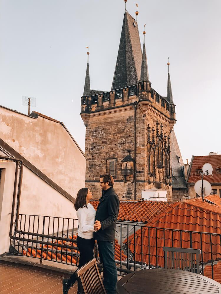 Kat and Chris in front of the Lesser Tower in Prague at Hotel Pod Vezi