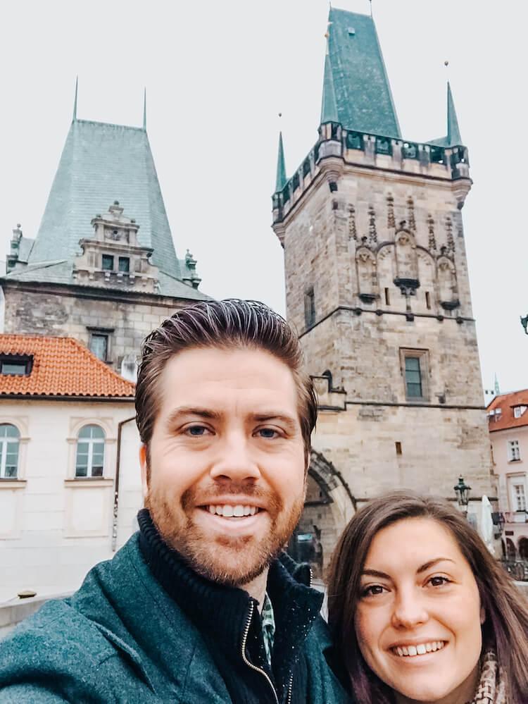 Kat and Chris on Charles Bridge in Prague