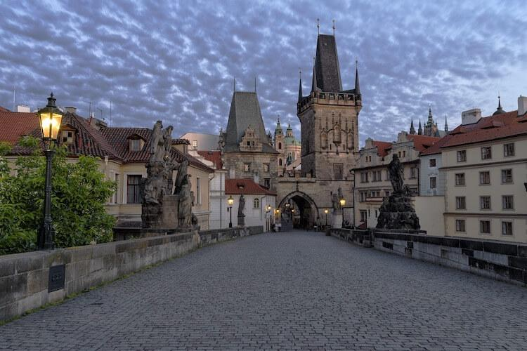 Lesser Town Prague Tower and Charles Bridge