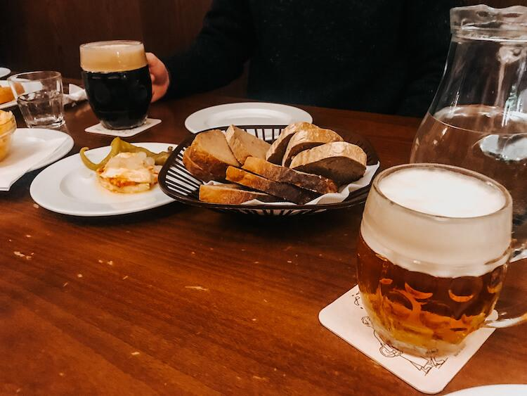 Lokal Prague with beer and snacks