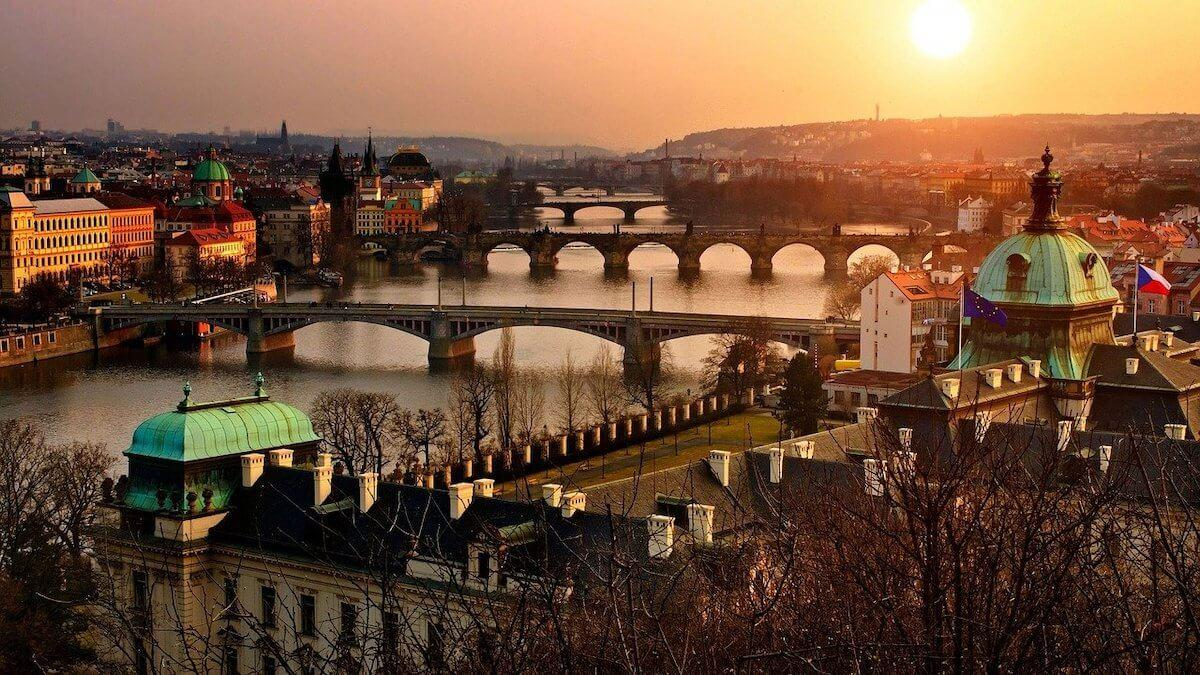 Prague's many bridge at dusk - 2 Days in Prague