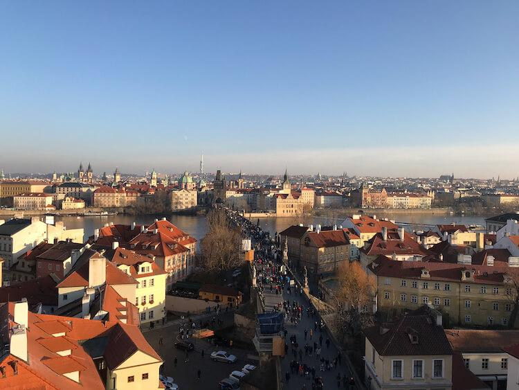 View of Old Town Prague from Lesser Town Tower