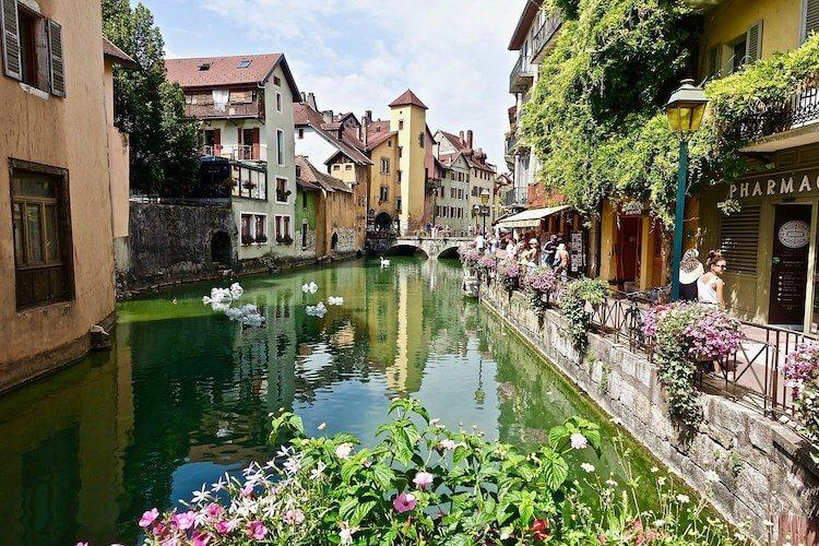 Bridge and Canal in Annecy during summer