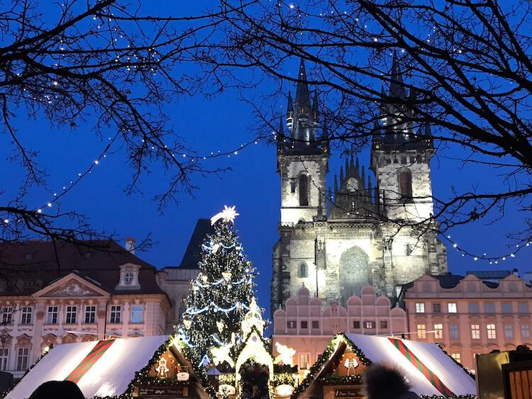 Prague Old Town Square at Night During the Christmas Market Season- Best Honeymoon Destinations in Europe