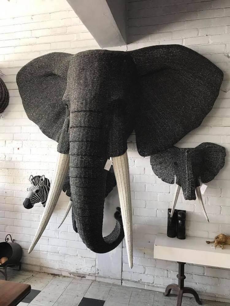 Streetwires elephant beaded sculpture