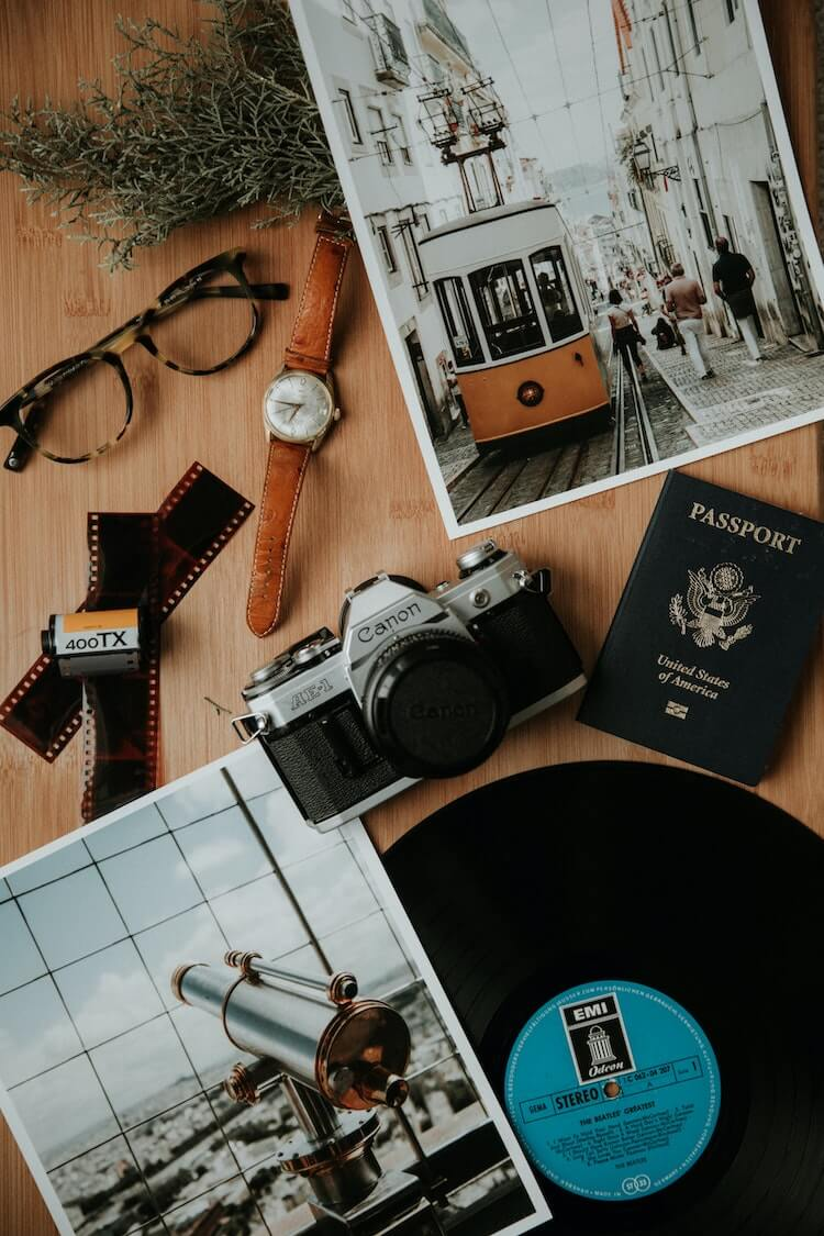 Travel Photos with Passport and Camera - What Travel Bloggers are Thankful For Now