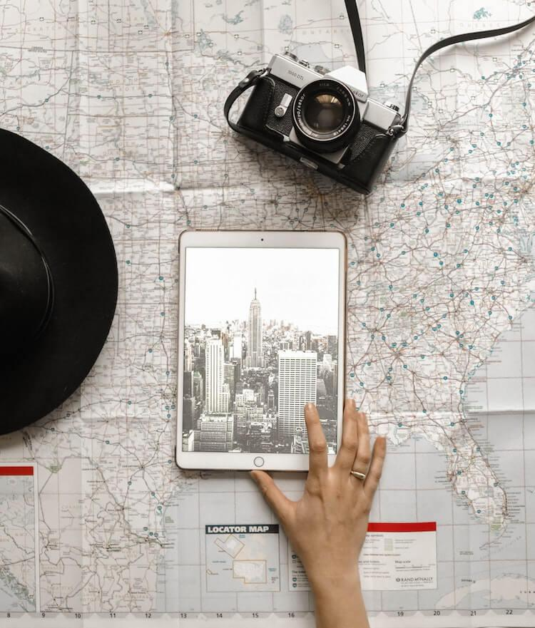What Travel Bloggers are Thankful For Right Now - Map and Ipad Overlay