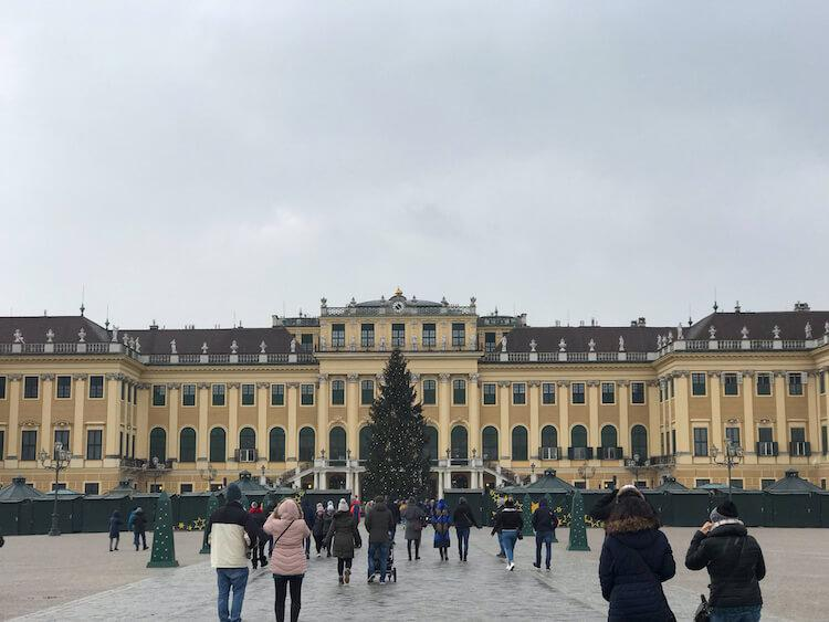 Christmas Market stands outside of Schonbrunn Palace in Vienna