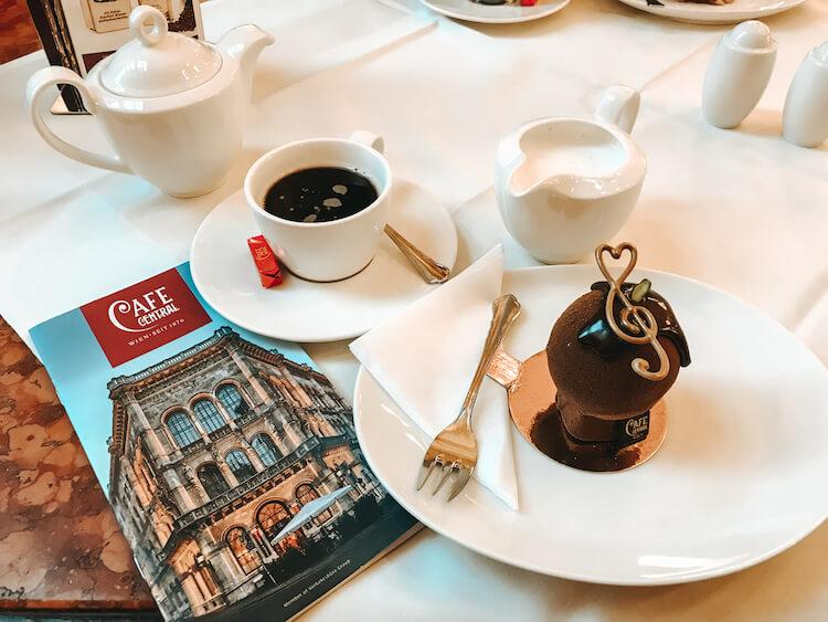 Coffee and a Mozart dessert at Cafe Central- Things to do in Vienna in December