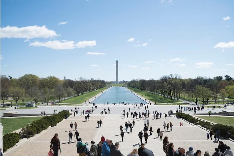 View of the Reflecting Pool and Washington Monument from the Lincoln Memorial