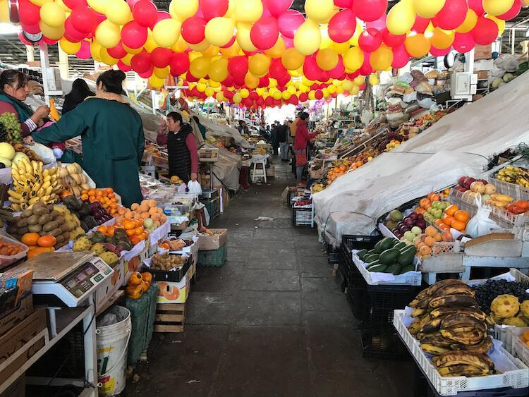 Fresh food at San Pedro Market in Cusco