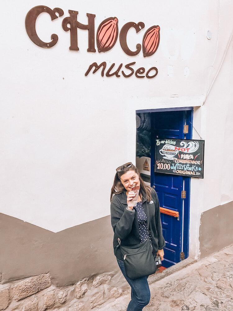 Kat eating Peruvian chocolate in Cusco - Cusco Souvenirs