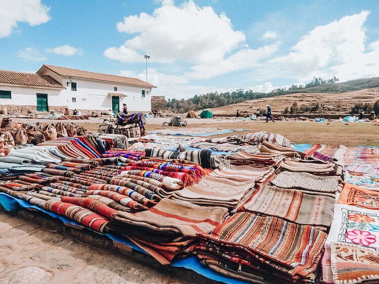Open air market in Peru selling alpaca souvenirs