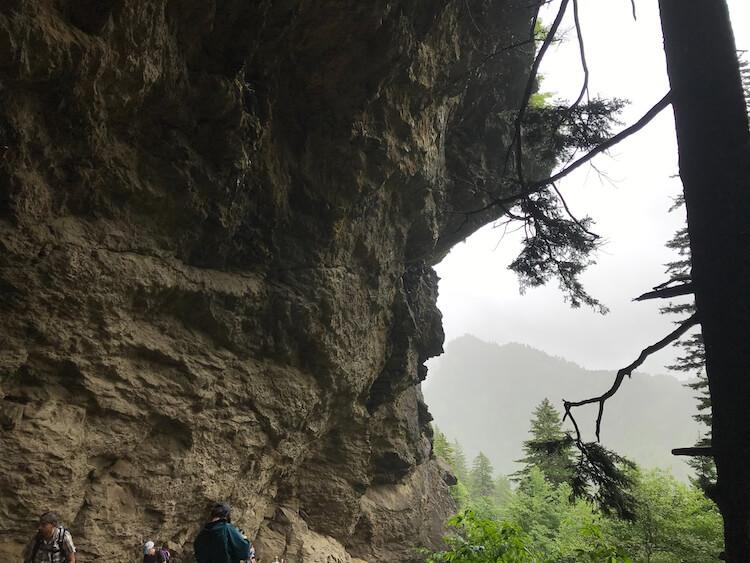 Alum Cave Bluffs on a foggy morning