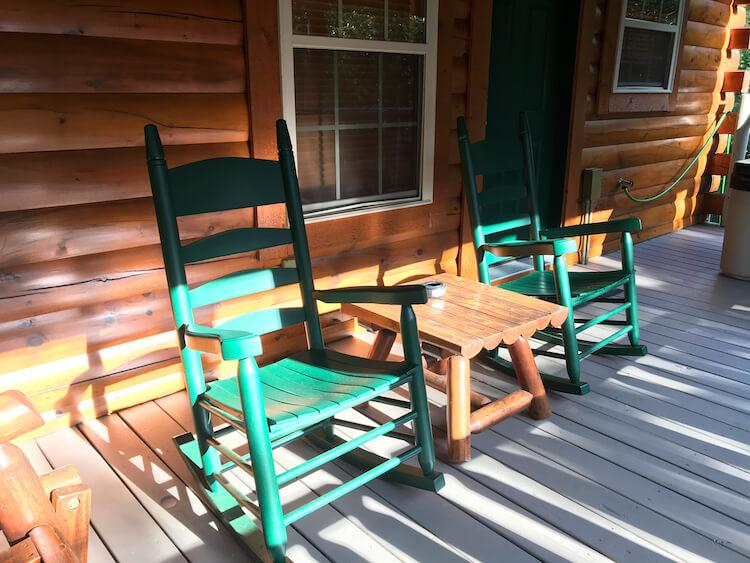 Back deck in our cabin with rocking chairs