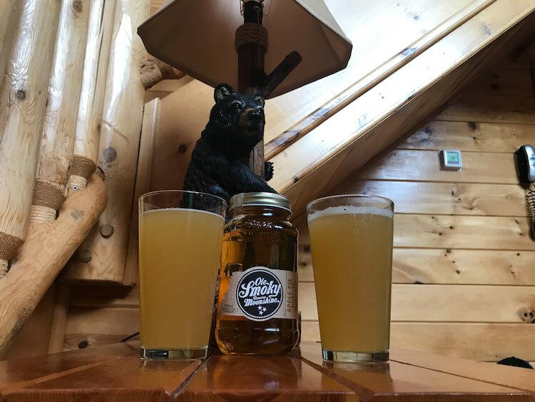 Local beer and moonshine in our cabin