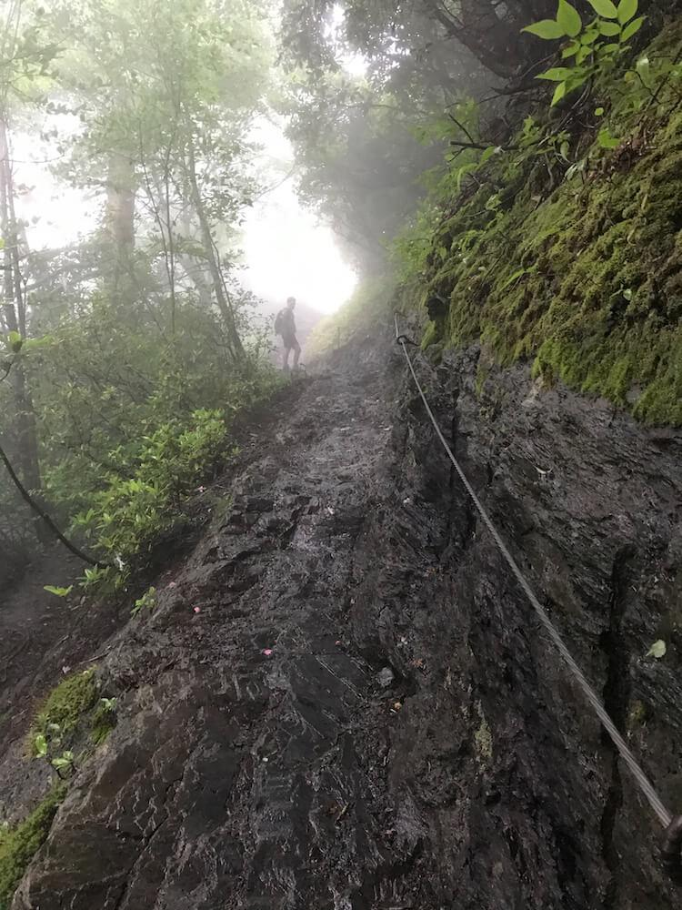 Treacherous Trail with steel cables on the Alum Cave Trail - Best Hikes in the Great Smoky Mountains
